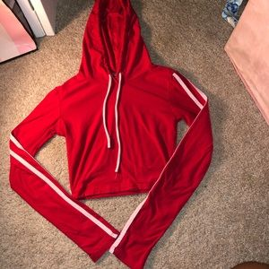 Fashion Nova red crop top hoodie